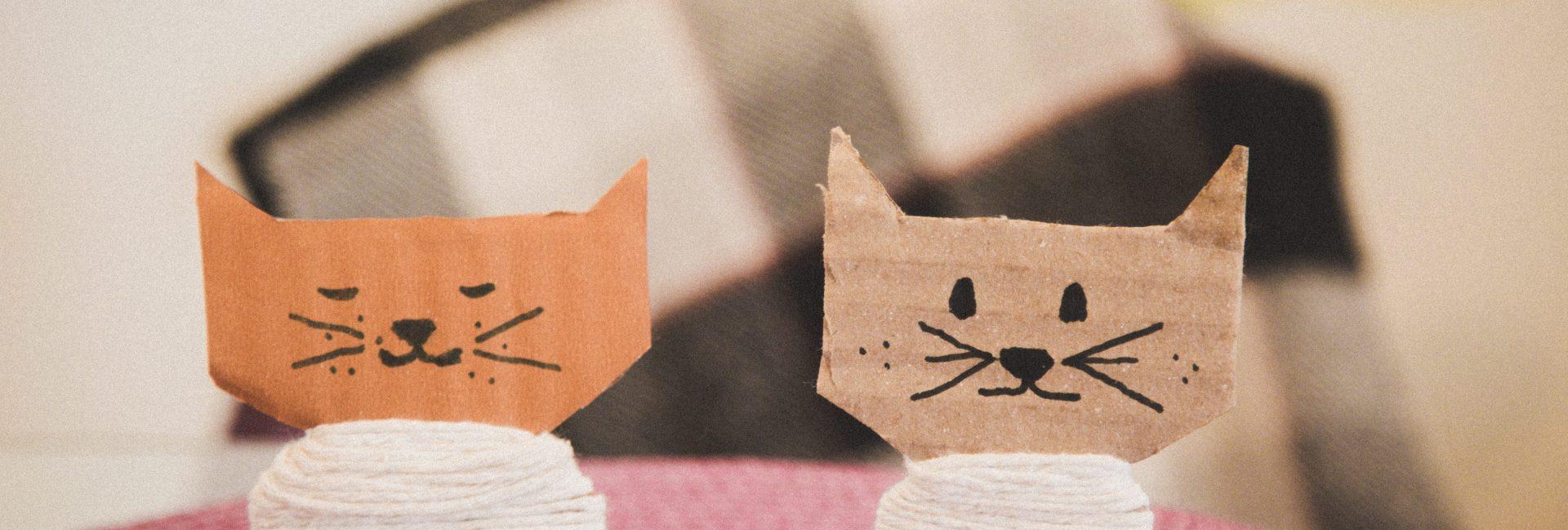 gatinhos de papelão